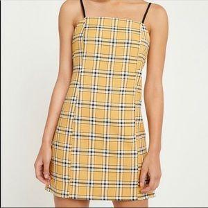 Urban Outfitters Yellow Plaid Mini Dress